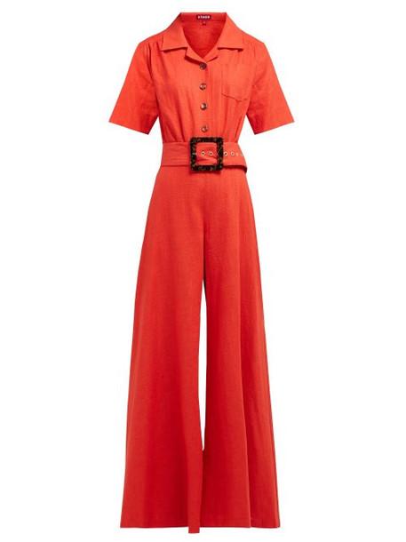 Staud - Zissou Wide Leg Linen Blend Jumpsuit - Womens - Red
