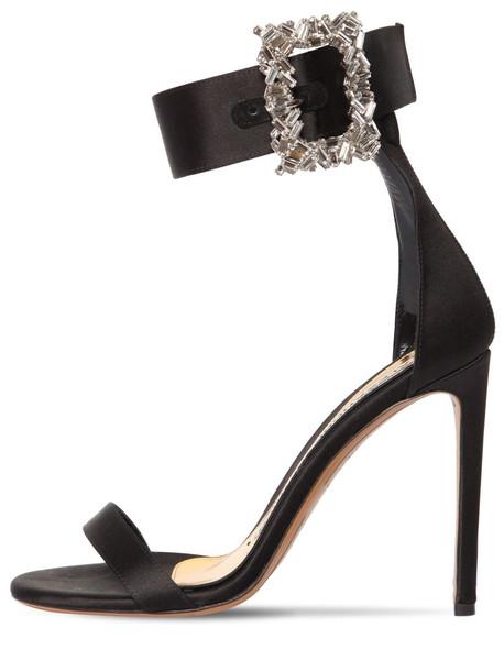 ALEXANDRE VAUTHIER 100mm Blanca Embellished Satin Sandals in black
