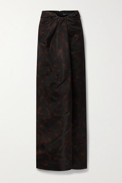 BRANDON MAXWELL - Draped Printed Gazar Maxi Skirt - Black