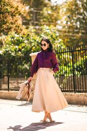hallie daily,blogger,blouse,sweater,skirt,bag,sunglasses,jewels,bow blouse,midi skirt,pumps,spring outfits