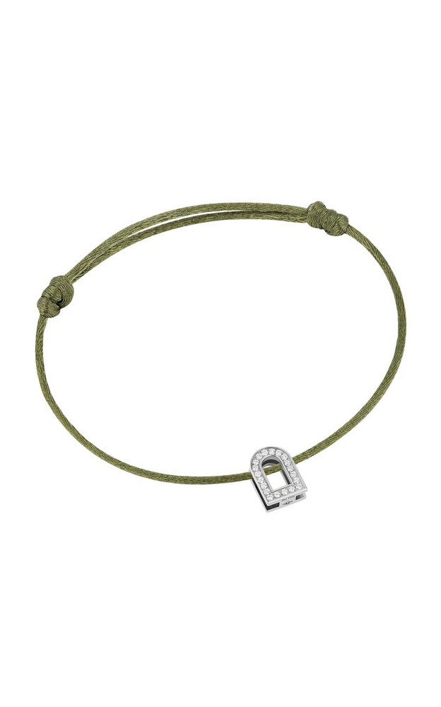 DAVIDOR L'Arc Voyage 18K White Gold, Diamond and Silk Cord Bracelet in green