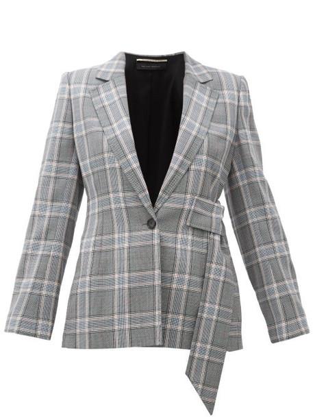 Roland Mouret - Belair Checked Wool Blazer - Womens - Blue Multi
