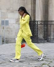 jacket,blazer,straight pants,high waisted pants,sneakers,handbag
