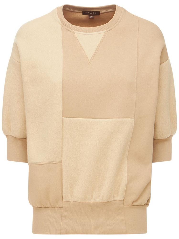 VAARA Short Sleeve Patchwork Sweatshirt in brown / beige