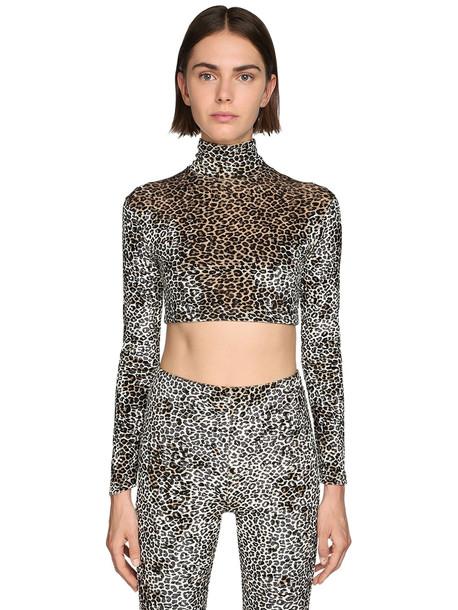 VETEMENTS Leopard Print Velvet Crop Top