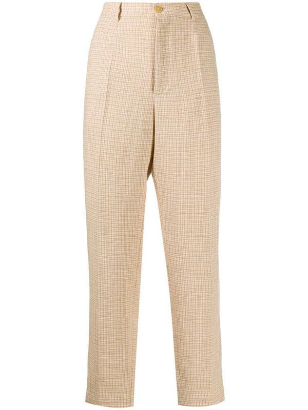 Forte Forte check print trousers in neutrals