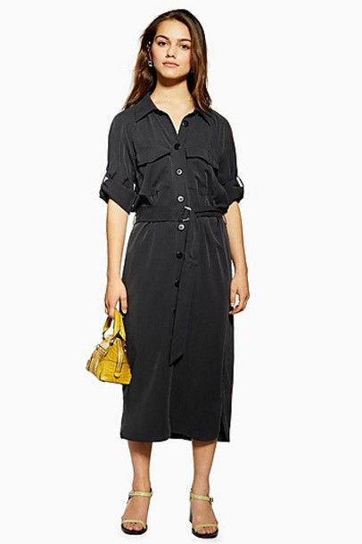 Topshop Petite Utility Tencel Midi Shirt Dress - Black