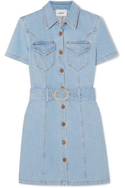 Nanushka - Mora Belted Denim Mini Dress - Light denim