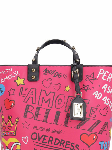 Dolce & Gabbana Beatrice Printed Leather Tote in fuchsia