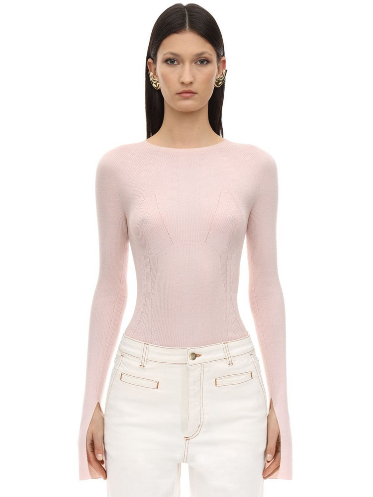 LANVIN Cashmere & Silk Rib Knit Sweater in pink