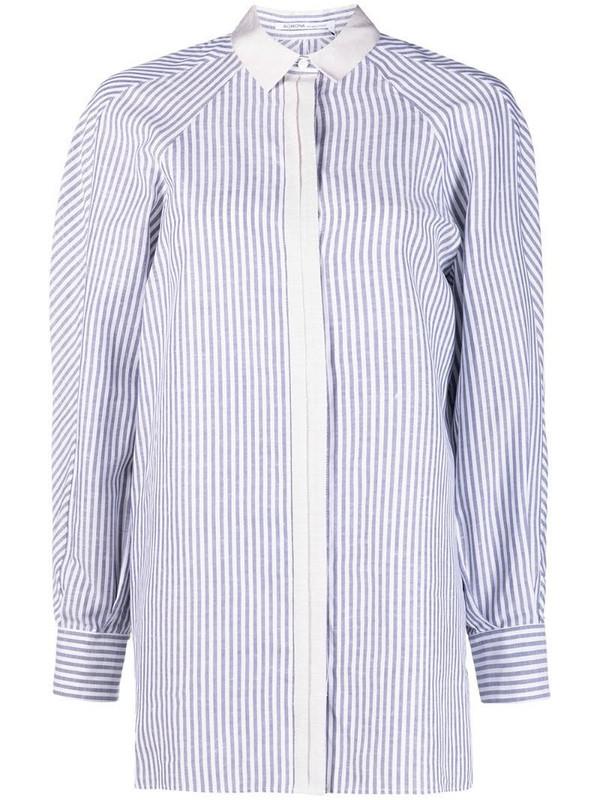 Agnona raglan-sleeves striped shirt in blue