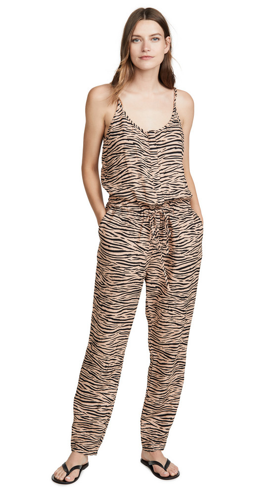 Enza Costa Linen Strappy Jumpsuit in tan