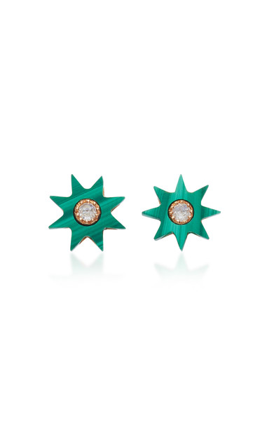 Colette Jewelry Starburst 18K Rose Gold Agate and Diamond Earrings in green
