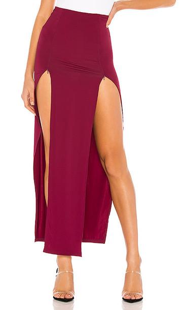 superdown Lauren Zip Front Skirt in Wine