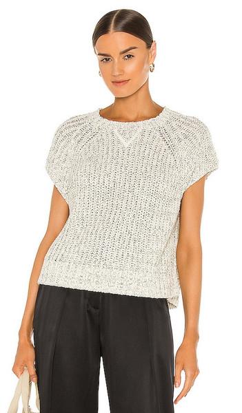 ATM Anthony Thomas Melillo Chunky Mouline Raglan Sweater in White in black
