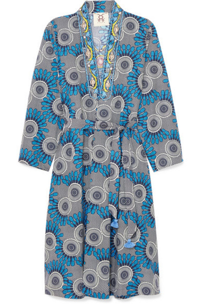 Figue - Elizabetta Embellished Printed Cotton Wrap Dress - Blue
