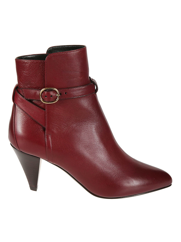 Celine Jodphur Ankle Boots in burgundy