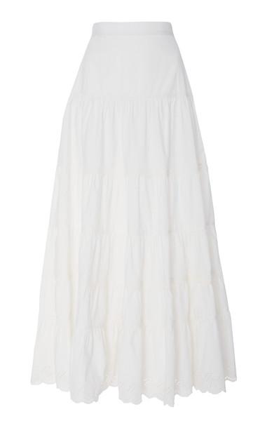 Ulla Johnson Fleet Smocked Cotton Maxi Skirt Size: 2 in white