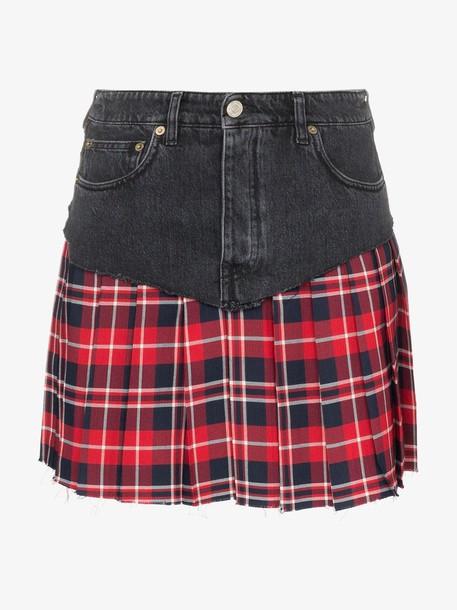 Vetements Pleated tartan-insert denim mini skirt