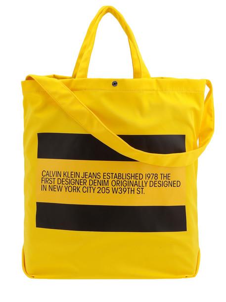Calvin Klein Tech Fabric Shoulder Bag in black / yellow
