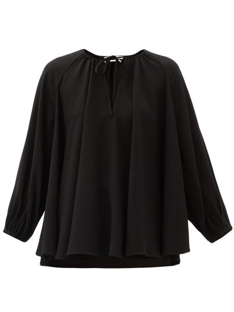 Co - Neck-tie Crepe Blouse - Womens - Black