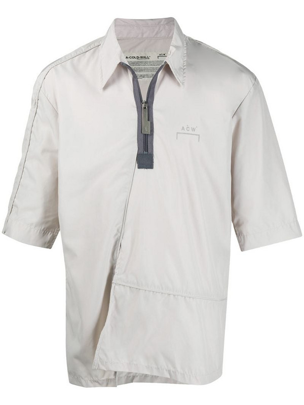 A-COLD-WALL* short-sleeved quarter zip shirt in grey