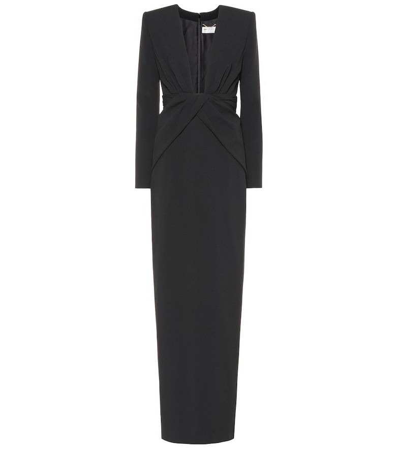 Saint Laurent Long-sleeved crêpe gown in black