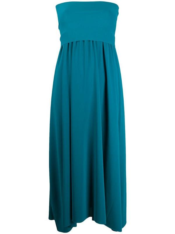 Eres strapless flared midi dress in blue
