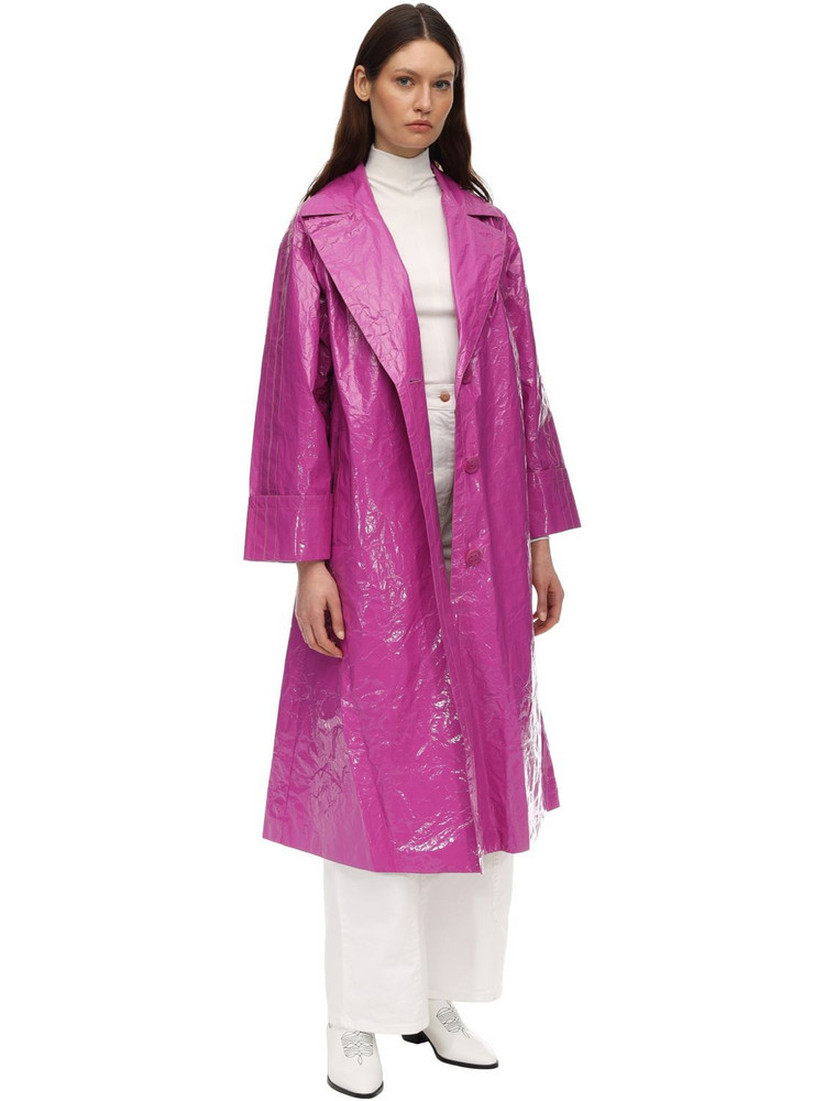 STAND Lexie Nylon Trench Coat in fuchsia