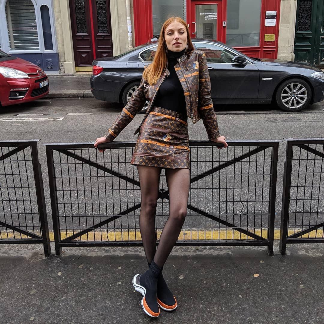 jacket leather jacket louis vuitton mini skirt leather skirt high waisted skirt black sneakers tights black turtleneck top