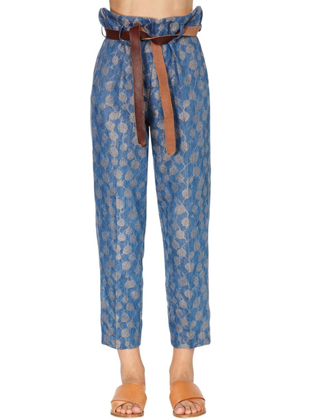 FORTE FORTE High Waist Jacquard Straight Leg Pants in blue / gold