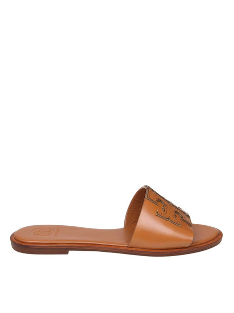 Tory Burch Ines Leather Sandals In Leather Color in tan