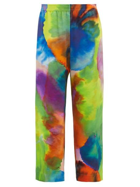 Raey - Neon Tie Dye Print Wide Leg Silk Trousers - Womens - Multi