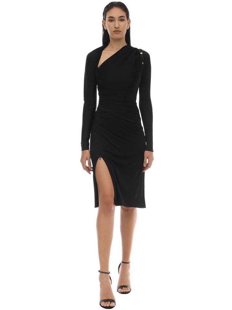 VERSACE Shiny Viscose Jersey Midi Dress W/pins in black