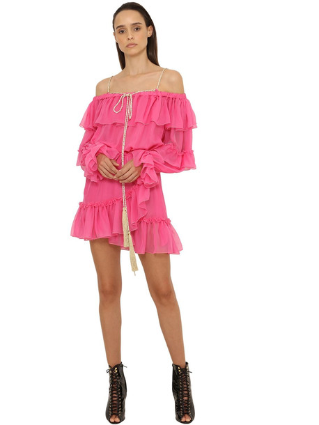 DUNDAS Ruffled Georgette Mini Dress in pink