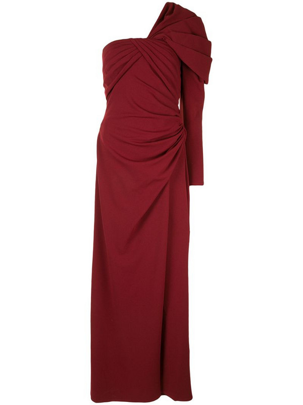 Tadashi Shoji one-shoulder draped gown in red