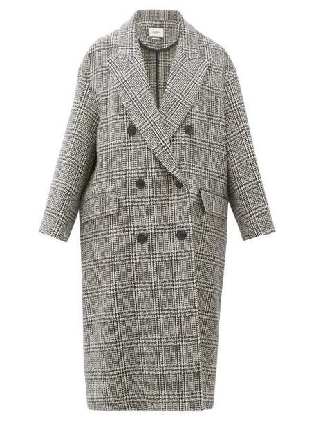 Isabel Marant Étoile - Ojima Checked Wool-blend Overcoat - Womens - Dark Grey