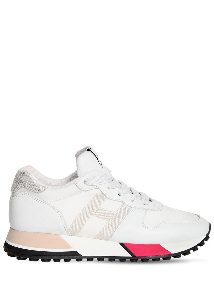 HOGAN 30mm H383 Nylon & Leather Sneakers in white