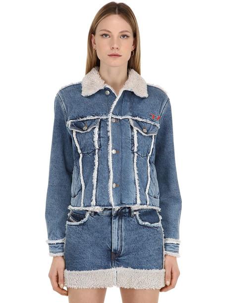 DIESEL Cotton Denim Jacket W/ Faux Shearling in blue