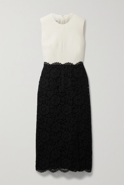 Valentino - Scalloped Corded Lace And Wool And Silk-blend Midi Dress - Black