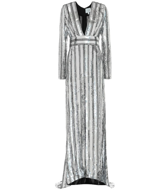 Galvan Stardust striped sequined gown in silver