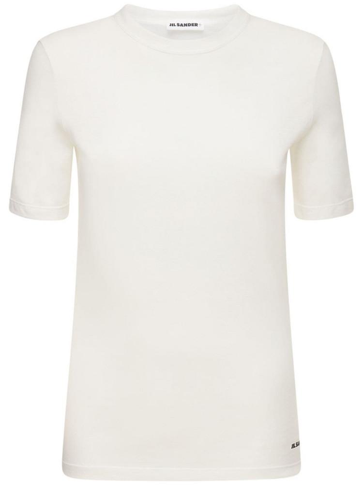 JIL SANDER Logo Cotton Jersey T-shirt in white