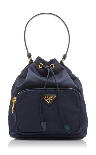 Prada Small Nylon Bucket Bag in blue