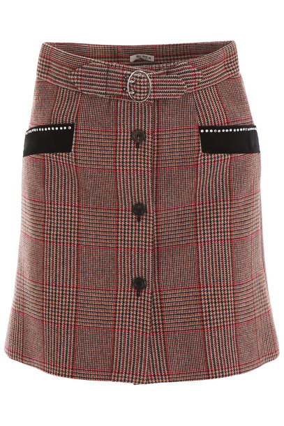 Miu Miu Tartan Mini Skirt With Crystals in brown