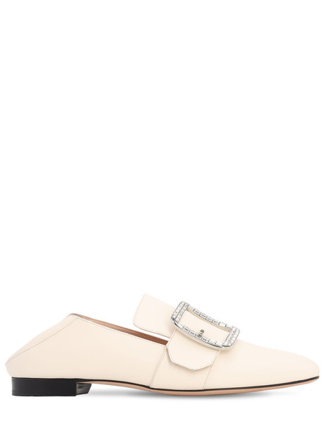 BALLY 10mm Janelle Crystal Leather Loafers in white