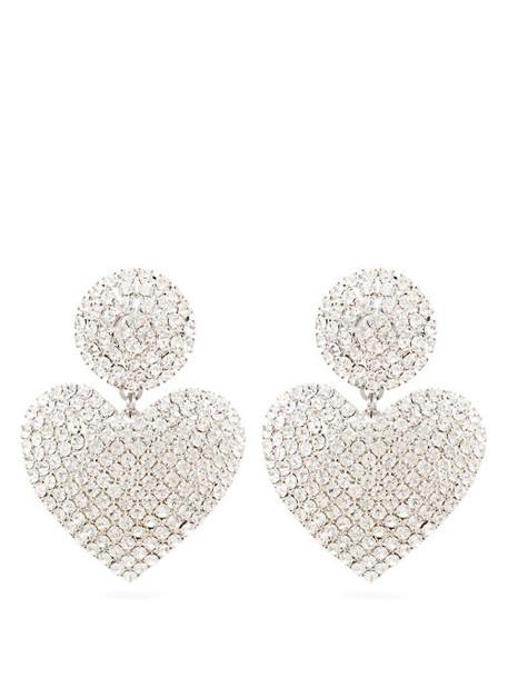 Alessandra Rich - Crystal Heart Drop Clip Earrings - Womens - Crystal