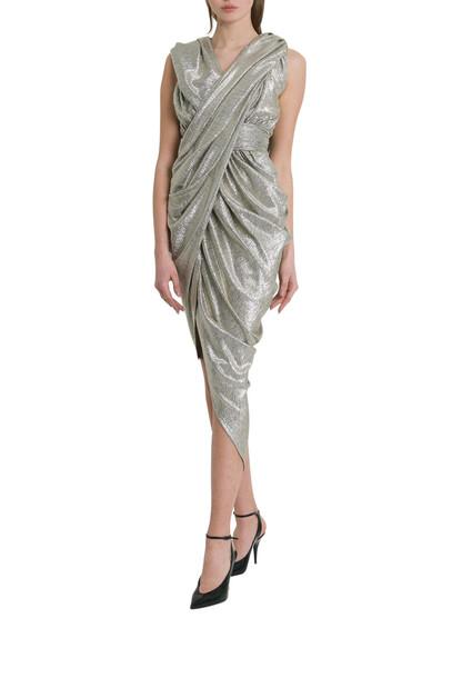 Balmain Hooded Laminated Draped Dress
