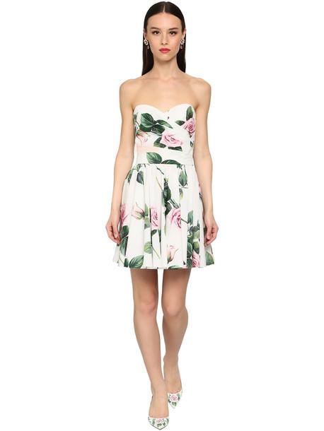 DOLCE & GABBANA Off Shoulder Printed Cotton Poplin Dress