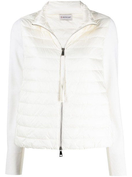 Moncler panelled padded jacket in white