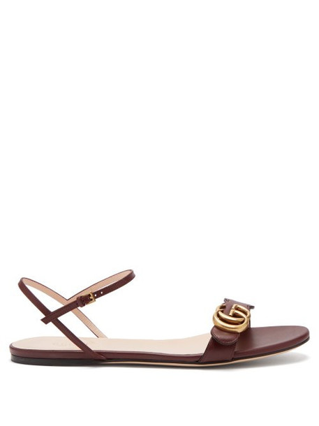 af9f9fe24f8 Gucci - Gg Marmont Leather Sandals - Womens - Burgundy - Wheretoget